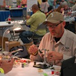 Mike Overton, showing fly tying prowess.